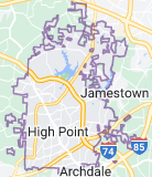 Map of High Point, North Carolina