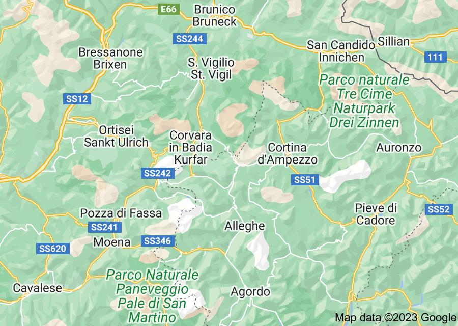 Location of Dolomites