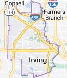 Map of Irving, Texas