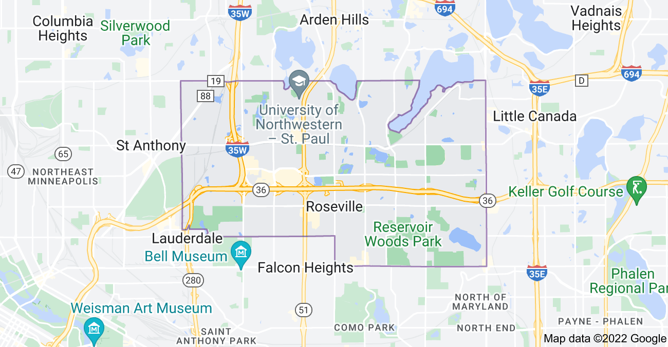 Map of Roseville, MN 55113
