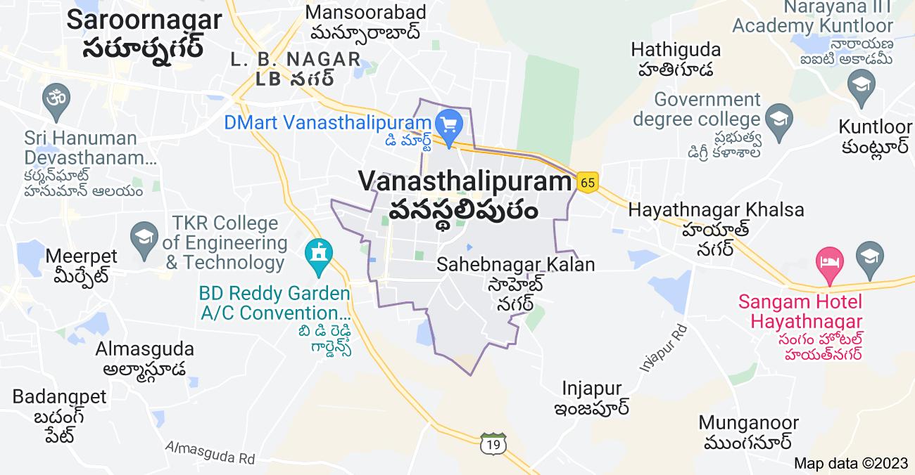 Map of Vanasthalipuram, Telangana, India