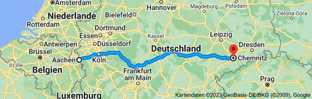 Karte von Aachen nach Chemnitz