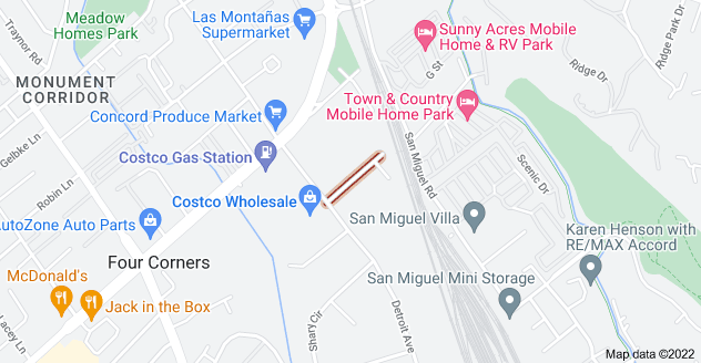 Map of Cloverdale Ave, Concord, CA 94518