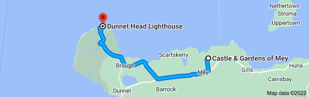Map from Queen Elizabeth Castle of Mey Trust, Mey, Thurso KW14 8XH, UK to Dunnet Head Lighthouse, Dunnet, Thurso KW14 8XS, UK