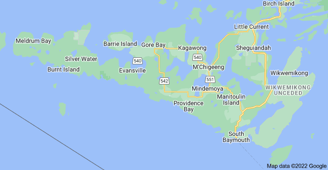 Map of Manitoulin Island, Ontario