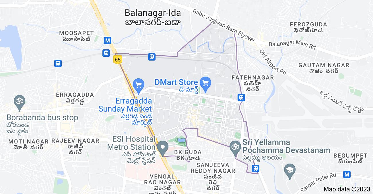 Map of Sanath Nagar, Hyderabad, Telangana, India