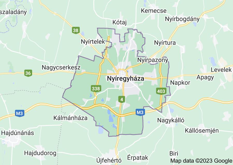 Location of Nyíregyháza