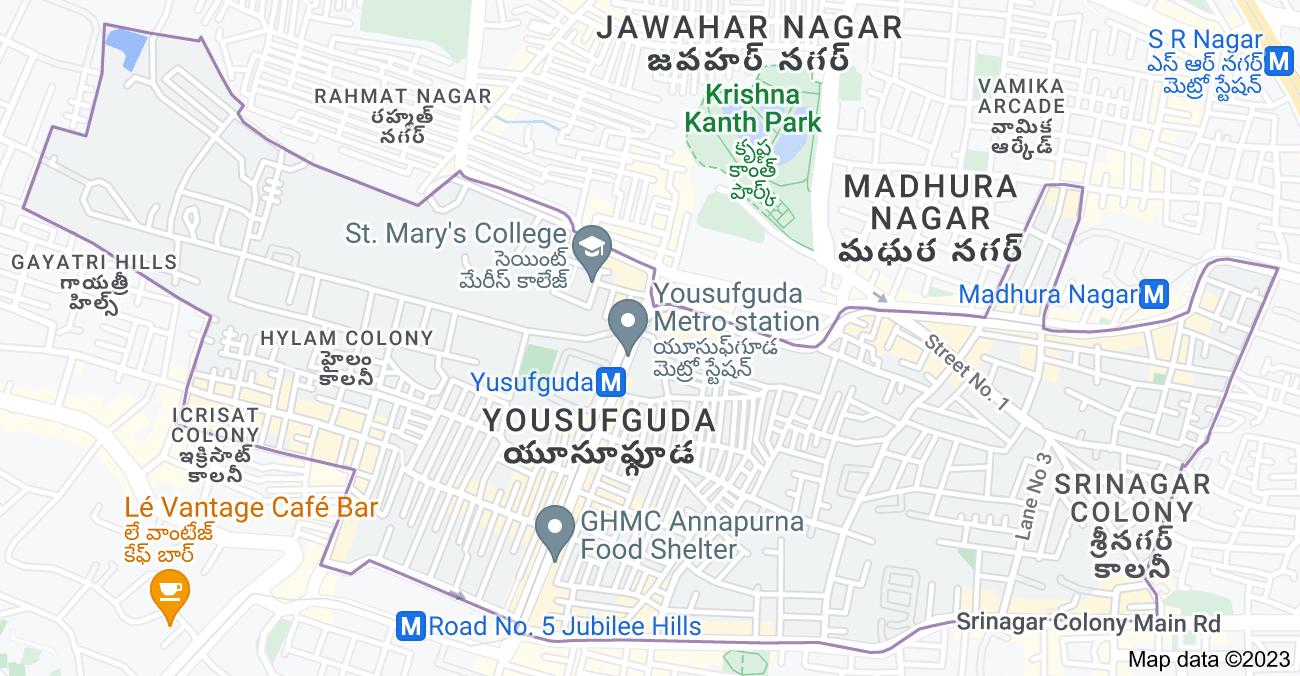 Map of Yousufguda, Hyderabad, Telangana, India
