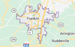 Map of Franklin, Tennessee