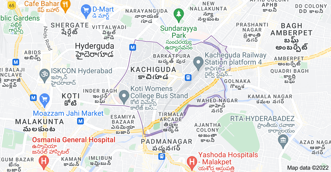 Map of Kachiguda, Hyderabad, Telangana, India