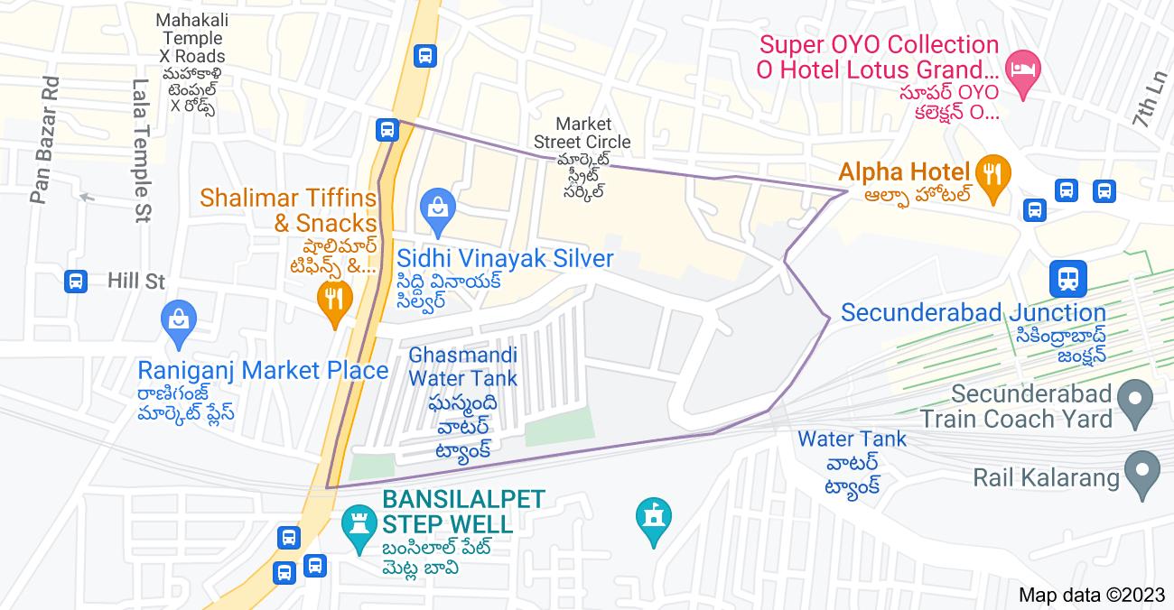 Map of Monda Market, Shivaji Nagar, Hyderabad, Telangana 500003, India