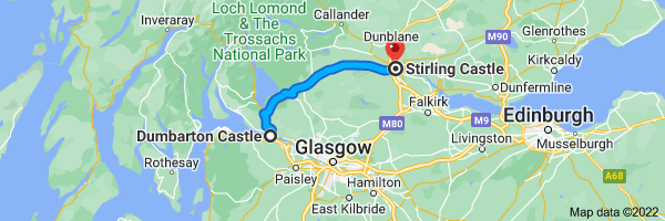 Map from Dumbarton Castle, Castle Rd, Dumbarton G82 1JJ, UK to Stirling Castle, Castle Esplanade, Stirling FK8 1EJ, UK