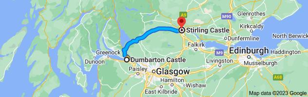 Map from Dumbarton Castle, Castle Rd, Dumbarton G82 1JJ, UK to Stirling Castle, Castle Esplanade, Stirling FK8 1EJ, UK