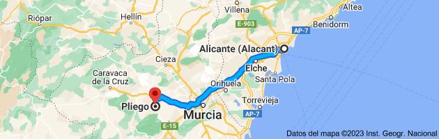 Mapa de Alicante (Alacant), Alicante a Pliego, 30176, Murcia