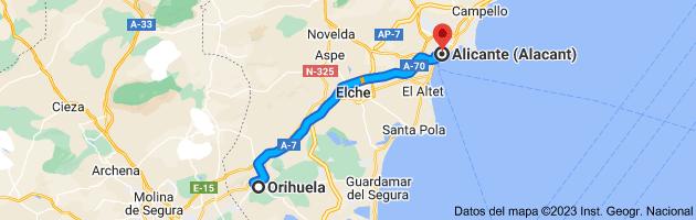 Mapa de Orihuela, Alicante a Alicante (Alacant), Alicante