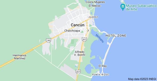 Map of Cancún, Quintana Roo, Mexico