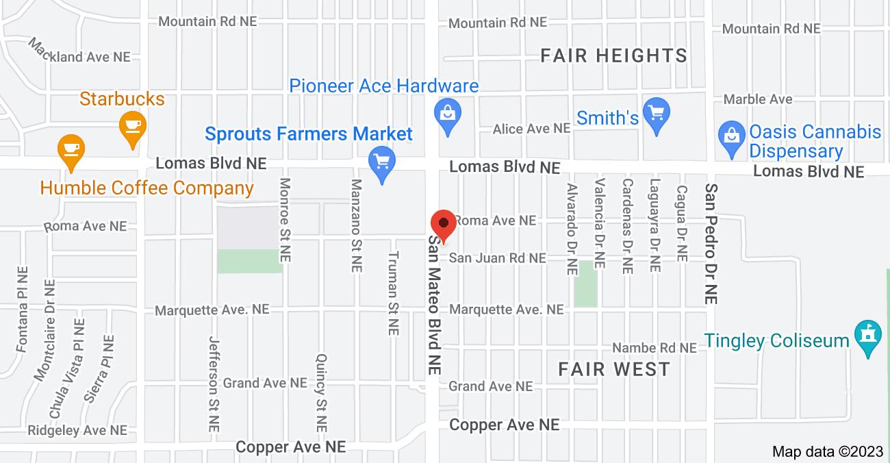 Map of 820 San Mateo Blvd NE, Albuquerque, NM 87108