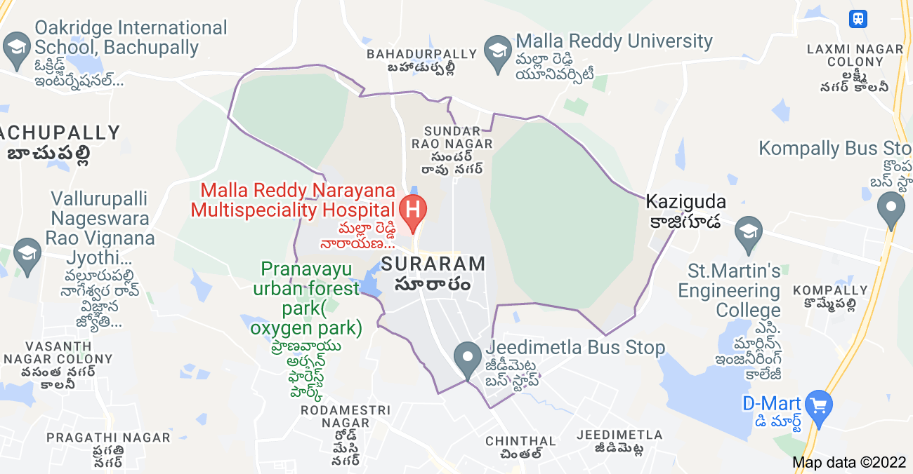 Map of Suraram, Hyderabad, Telangana, India