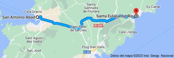 Mapa de San Antonio Abad, 07820, Islas Baleares a Santa Eulalia del Río, Islas Baleares