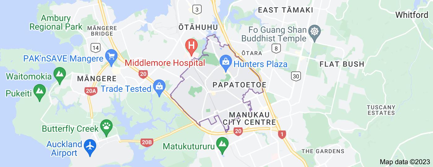Location of Papatoetoe