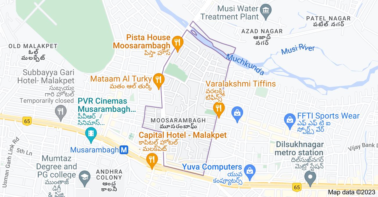 Map of Moosarambagh, Hyderabad, Telangana, India
