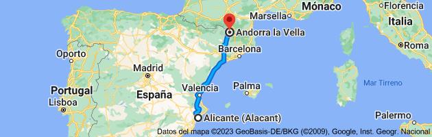 Mapa de Alicante (Alacant), Alicante a Andorra la Vieja, AD500, Andorra