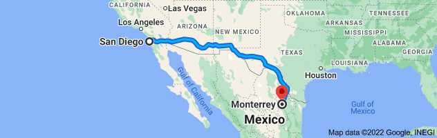 Map from San Diego, California to Monterrey, Nuevo Leon, Mexico