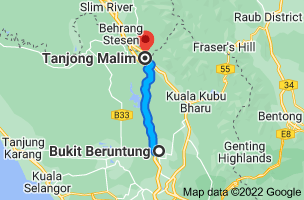 Map from Bukit Beruntung, Rawang, Selangor, Malaysia to Tanjong Malim, Perak, Malaysia