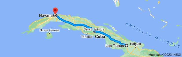Map from Las Tunas, Cuba to Havana, Cuba