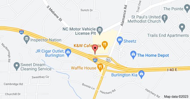 Map of 2643 Ramada Rd, Burlington, NC 27215