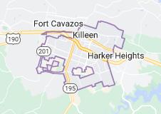 Map of Killeen, Texas