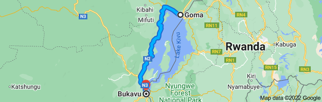 Map from Goma, Democratic Republic of the Congo to Bukavu, Democratic Republic of the Congo