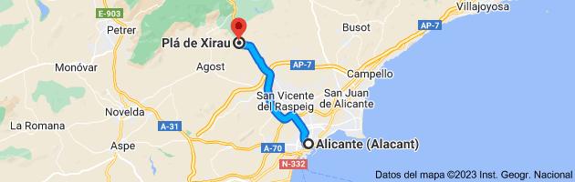 Mapa de Alicante (Alacant), Alicante a Plá de Xirau, 03699, Alicante