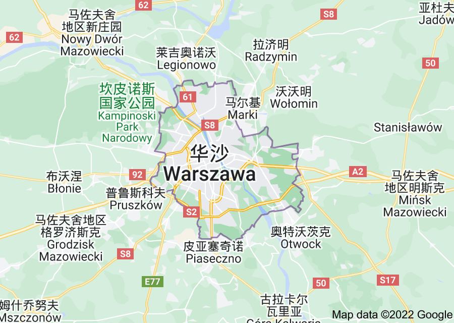 Location of 华沙
