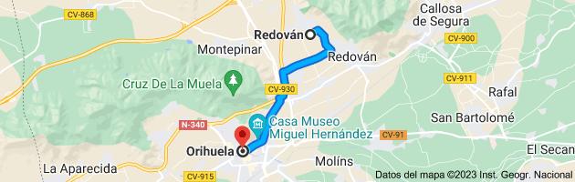 Mapa de Redován, 03370, Alicante a Orihuela, Alicante