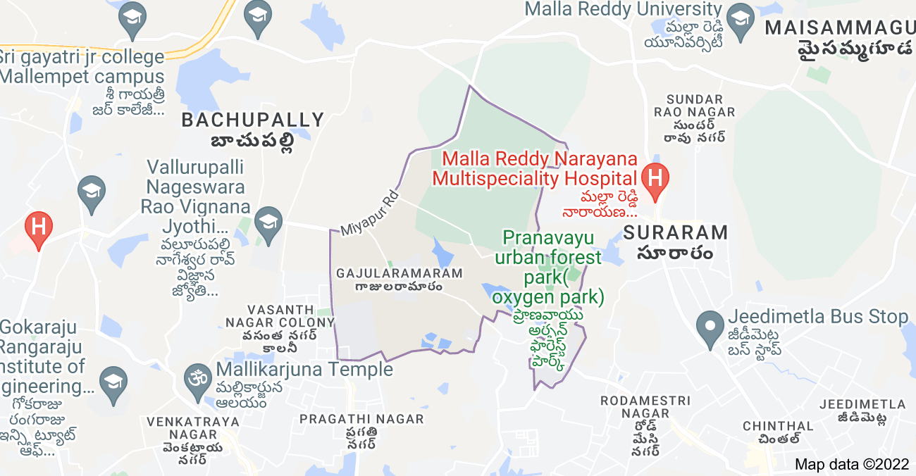 Map of Gajularamaram, Hyderabad, Telangana, India