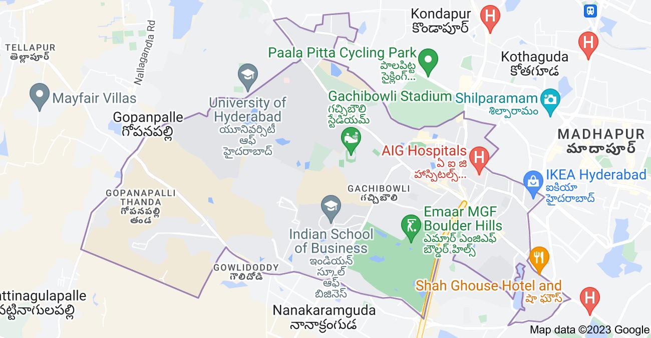 Map of Gachibowli, Hyderabad, Telangana, India
