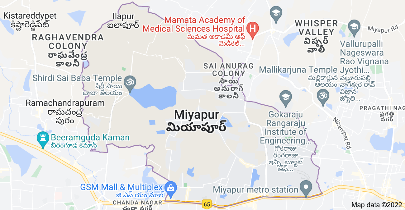 Map of Miyapur, Telangana, India