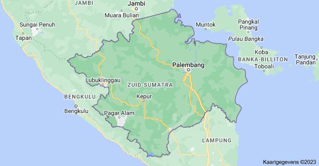 Kaart van Zuid-Sumatra Indonesi