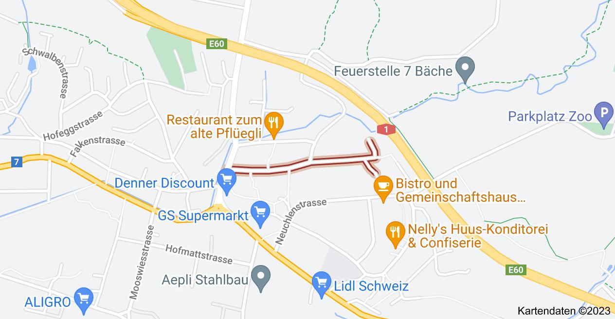 Karte von Zeughausstrasse 9200 Gossau