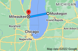Map from Muskegon, Michigan to Milwaukee, Wisconsin