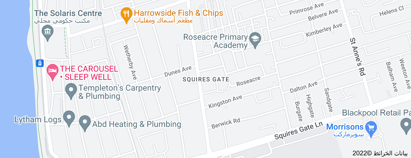 Location of Squires Gate, Blackpool