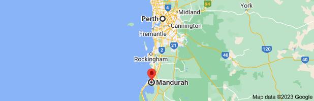 Map from Perth, Western Australia to Mandurah, Western Australia