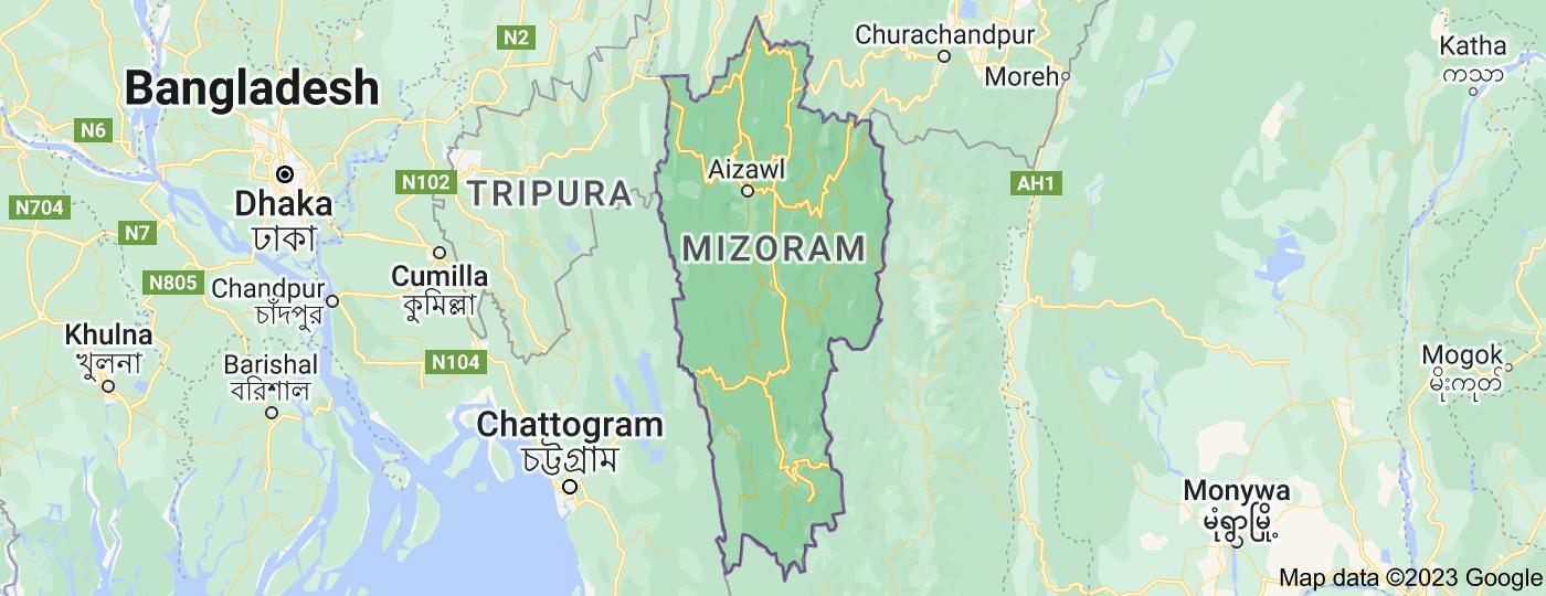 Location of Mizoram