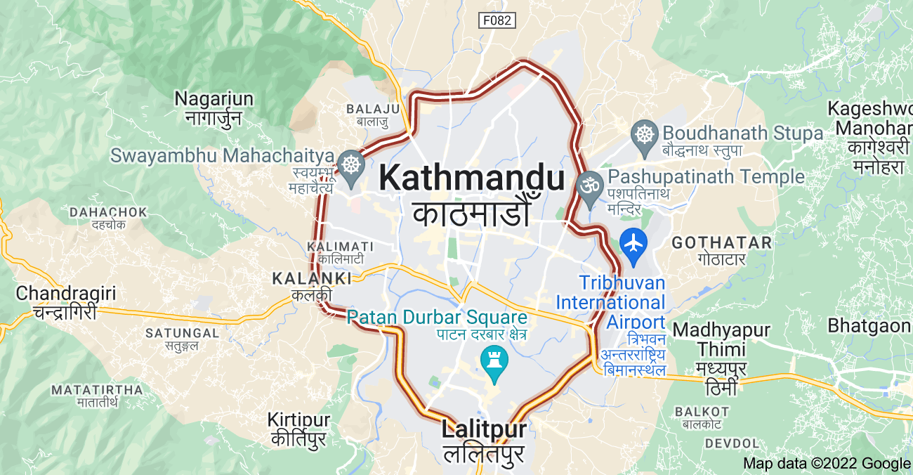 Map of Ring Road, Nepal