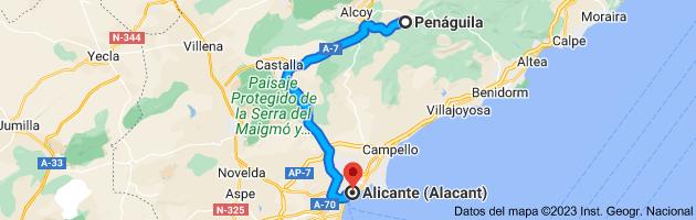 Mapa de Penáguila, 03815, Alicante a Alicante (Alacant), Alicante