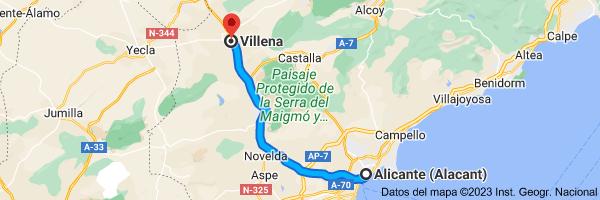Mapa de Alicante a Villena, 03400, Alicante
