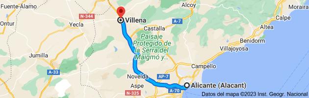 Mapa de Alicante (Alacant), Alicante a Villena, 03400, Alicante