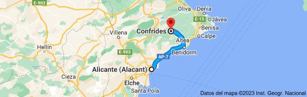 Mapa de Alicante a Confrides, 03517, Alicante