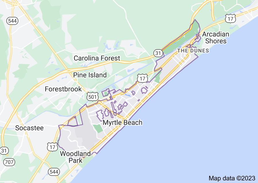 Location of Myrtle Beach
